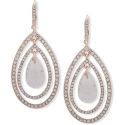 You're Invited Rose Gold Tone Rhinestone Orbital Earrings