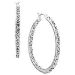 Nine West Silver Tone Crystal Hoop Earrings