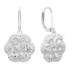 Gloria Vanderbilt Silver Tone Rhinestone Drop Earrings