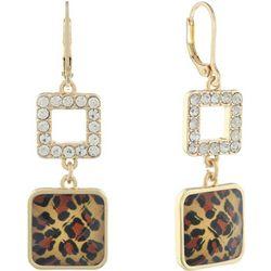 Gloria Vanderbilt Gold Tone Leopard Rhinestone Drop Earrings