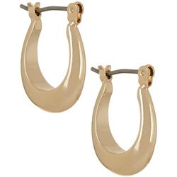 Napier Small Gold Tone Click-It Hoop Earrings