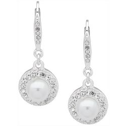 You're Invited Silver Tone Faux Pearl Pave Drop Earrings