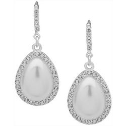You're Invited Silver Tone Teardrop Pearl Drop Earrings
