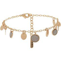 Nine West Gold Tone Circles Ankle Bracelet