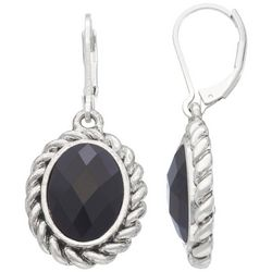 Napier Silver Tone Oval Faceted Drop Earrings