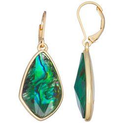 Napier Gold Tone Organic Emerald GReen Drop Earrings