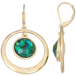 Napier Gold Tone Emerald Faceted Stone Orbital Drop Earrings