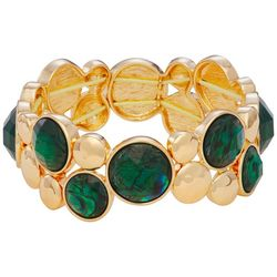Napier Goldtone Faceted Emerald Stones Stretch Bracelet