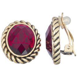 Napier Cable Lined Faceted Oval Clip Earrings