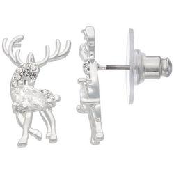 Napier Holiday Rhinestone Reindeer Stud Earrings