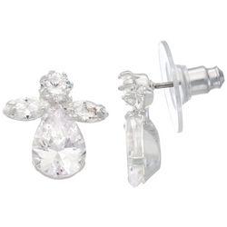 Napier Holiday Crystal Angel Stud Earrings