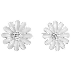 Gloria Vanderbilt White Enamel Daisy Stud  Earrings