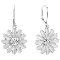 Gloria Vanderbilt White Enamel Daisy Drop Earrings