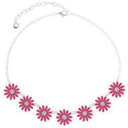 Gloria Vanderbilt Silver Tone Flower Frontal Necklace