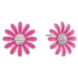 Gloria Vanderbilt Pink Enamel Daisy Stud  Earrings