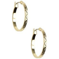 Napier Gold Tone Diamond Cut Hoop Earrings