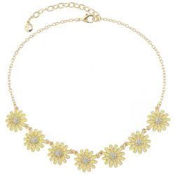 Gloria Vanderbilt Gold Tone Flower Frontal Necklace