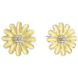 Gloria Vanderbilt Yellow Enamel Daisy Stud  Earrings