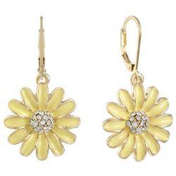 Gloria Vanderbilt Enamel Yellow Daisy Drop Earrings