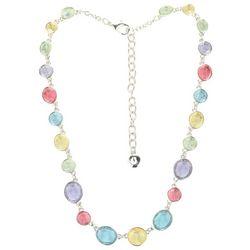 Gloria Vanderbilt Silver Tone Multi Stone Oval Necklace