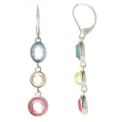 Gloria Vanderbilt Faceted Stone Tri-Color Drop Earrings