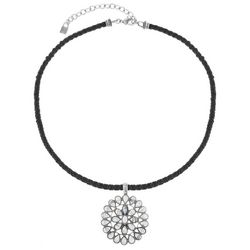 Chaps Silver Tone Cable Concha Pendant Necklace