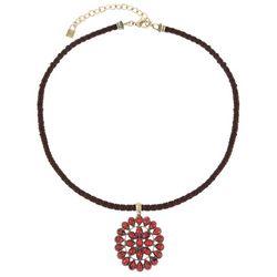 Chaps Gold Tone Cable Concha Pendant Necklace