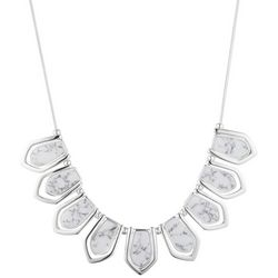 Chaps Silver Tone Cable Drop Stained Necklace