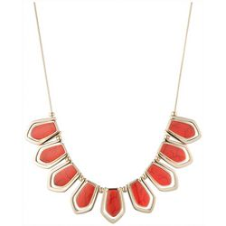 Chaps Gold Tone Cable Drop Stained Necklace