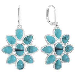 Chaps Silver Tone Flower Drop Earrings
