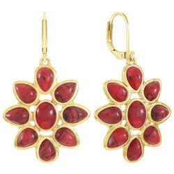 Chaps Gold Tone Flower Drop Earrings