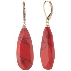Chaps Gold Tone Stained Drop Earrings
