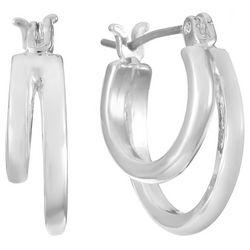 Chaps Silver Tone Double Row Hoop Earrings