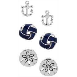 Chaps 3-pc. Silver Tone Coastal Anchor Earrings