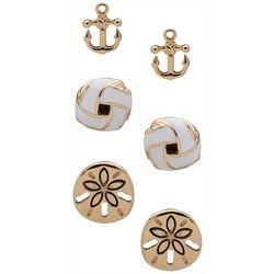 Chaps 3-pc. Gold Tone Coastal Anchor Earrings