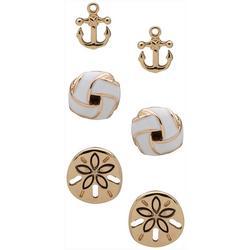 3-pc. Gold Tone Coastal Anchor Earrings