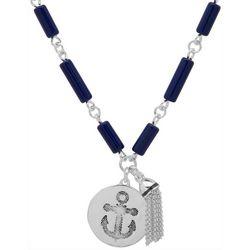 Chaps Silver Tone Sand Dollar Pendant Necklace