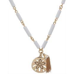 Chaps Gold Tone Sand Dollar Pendant Necklace