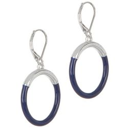 Napier Silvertone Hoop With Colored Enamel Dangle Earrings