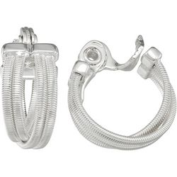 Napier Silver Tone Snake Chain Hoop Clip On Earrings