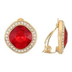 Gloria Vanderbilt Gold Tone Siam & Rhinestone Earrings