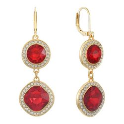 Gloria Vanderbilt Gold Tone Siam & Rhinestone Round Earrings