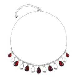 Gloria Vanderbilt Faux Ruby Teardrops Snake Chain Necklace