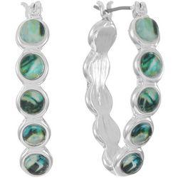Chaps Abalone Dot Hoop Earrings