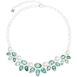 Chaps Two Rows Silver Tone Abalone Teardrop Frontal Necklace