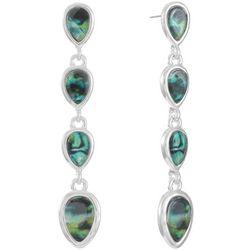 Chaps Silver Tone Abalone Raindrop Earrings