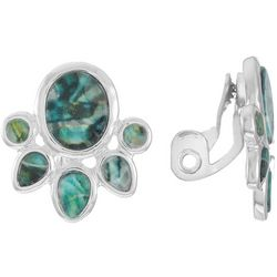 Chaps Abalone Cluster Clip On Earrings