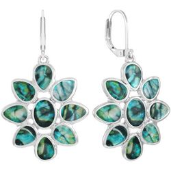 Chaps Silver Tone Abalone Floral Earrings