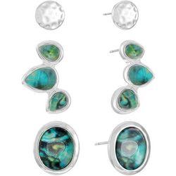 Chaps 3-Pc. Abalone Stud Earrings Set