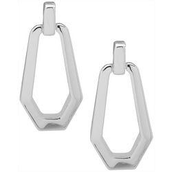 Nine West Silver Tone Doorknocker Earrings
